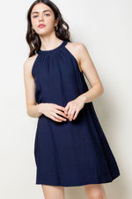 Load image into Gallery viewer, Braided Halter Neck Dress in Navy