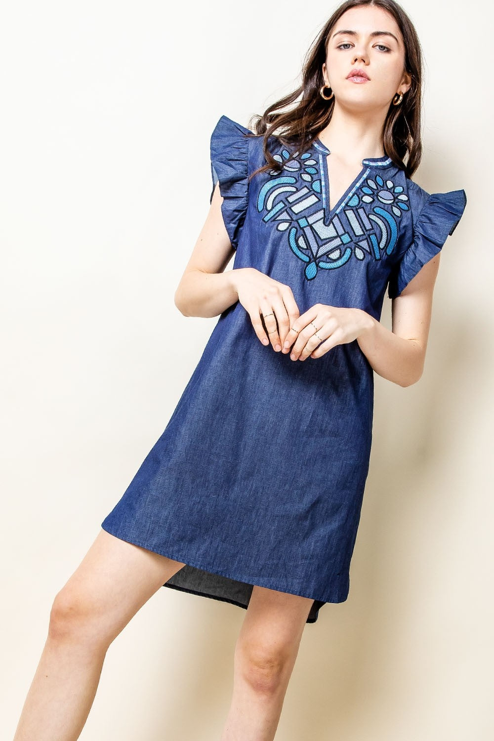 Embroidered Flutter Sleeve Chambray Dress