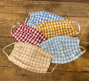 Taylor Home Gingham Mask in Bisque