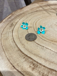 Tiny Flower Stud Earring in Teal and White
