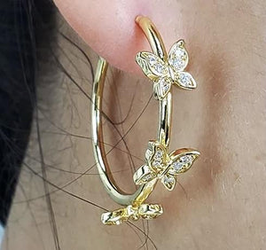 Butterfly Hoop Earrings in 18K Gold