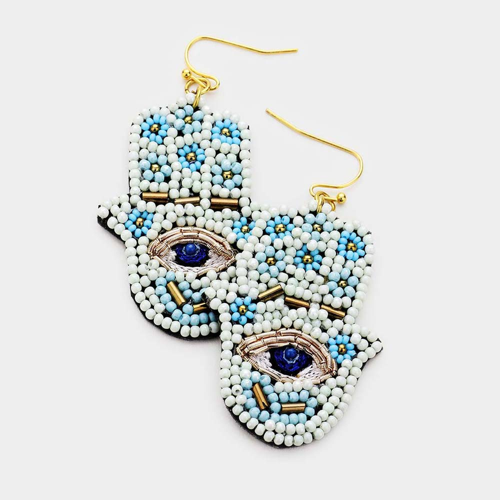 Beaded Hamsa Earrings in Ivory/Sky Blue Combo