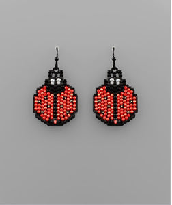 Ladybug Beaded Earring in Black/Red