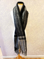 Load image into Gallery viewer, Large Plaid Scarf w/ Fringe in Black/Grey