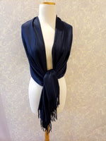 Load image into Gallery viewer, Cashmere Blend Pashmina in Navy