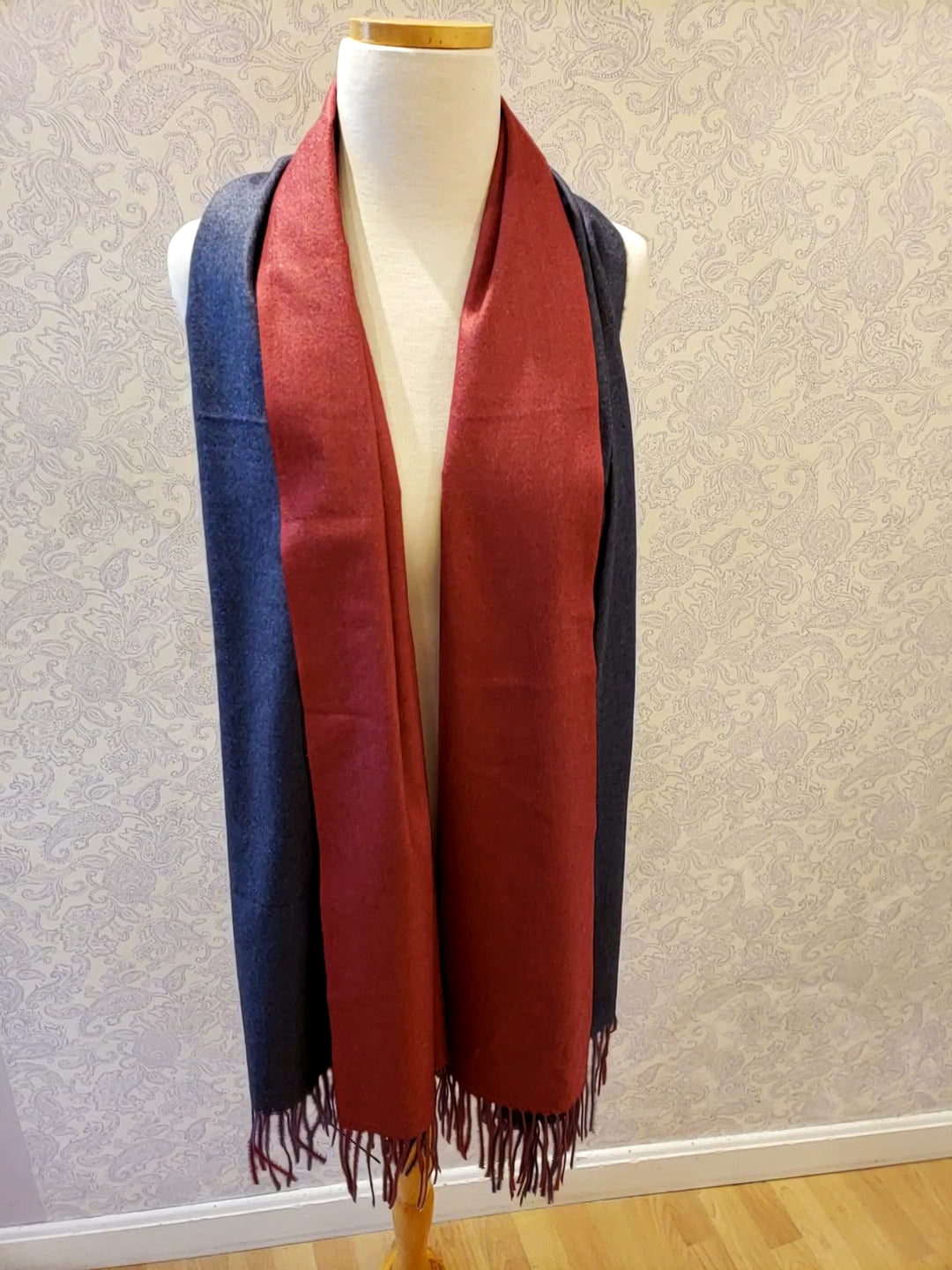 Two Toned Fringe Scarf Red/Grey