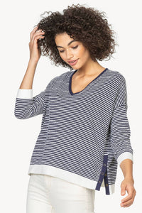 3/4 Sleeve Striped V-Neck Sweater