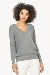 Double V 3/4 Sleeve Sweater in Heather Grey
