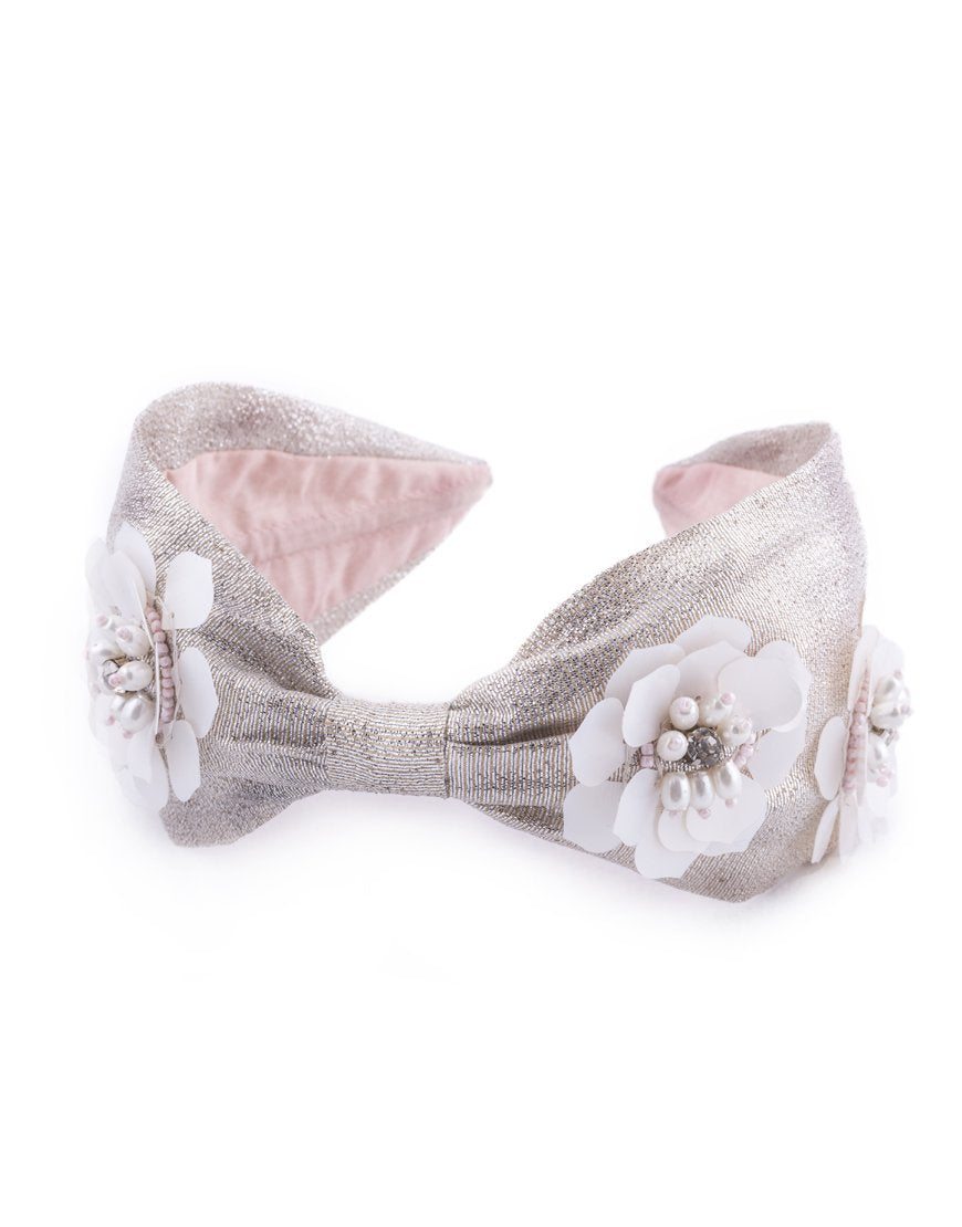 Lotus Flower Headband in Silver