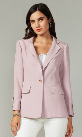 Single Button Linen/Tencel Blazer in Lilac