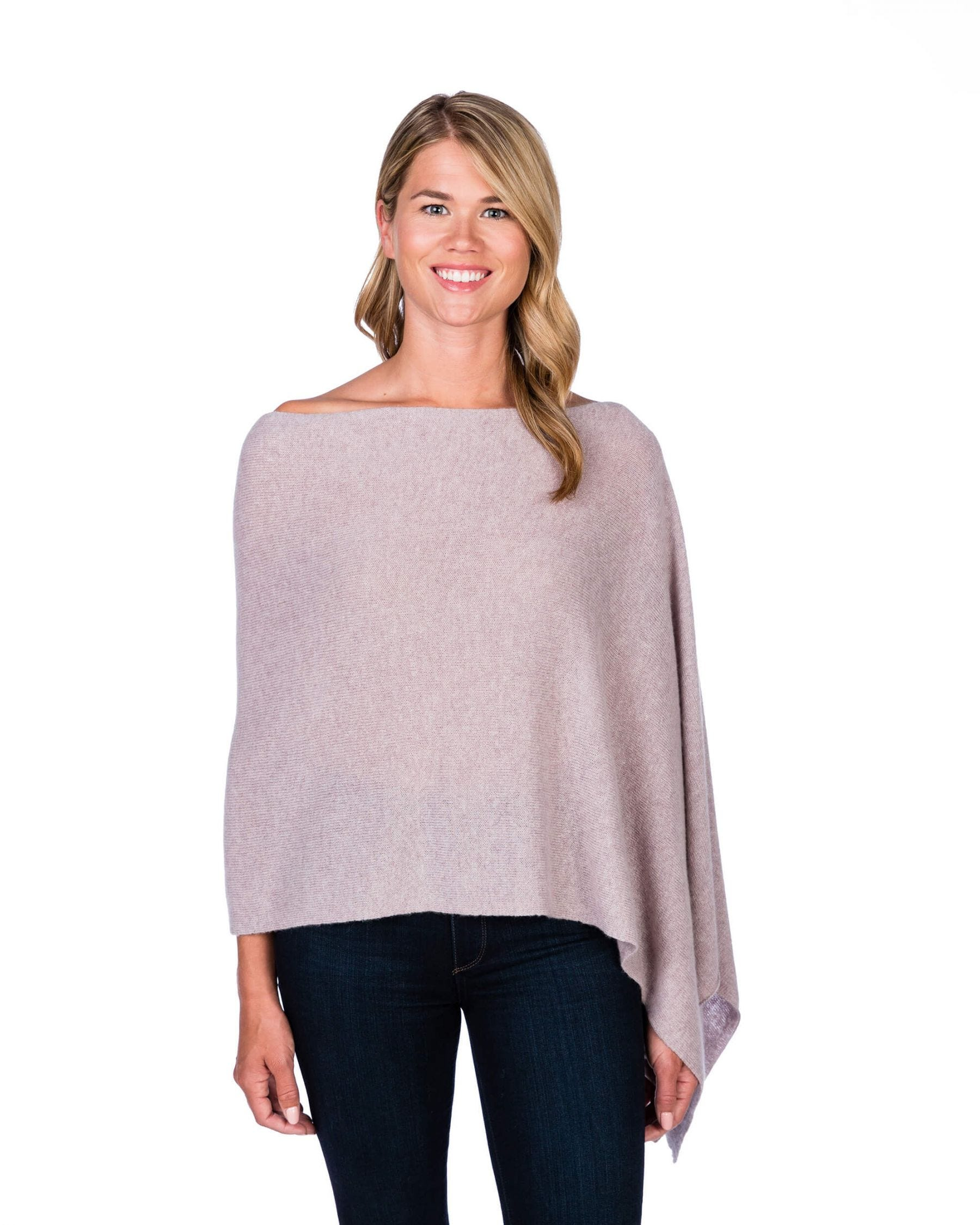 100% Cashmere Dress Topper/Poncho in Plum Ice