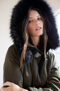 Tiffany Faux Fur Lined Parka in Olive