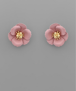 Small Flower Stud with Gold Center in Black