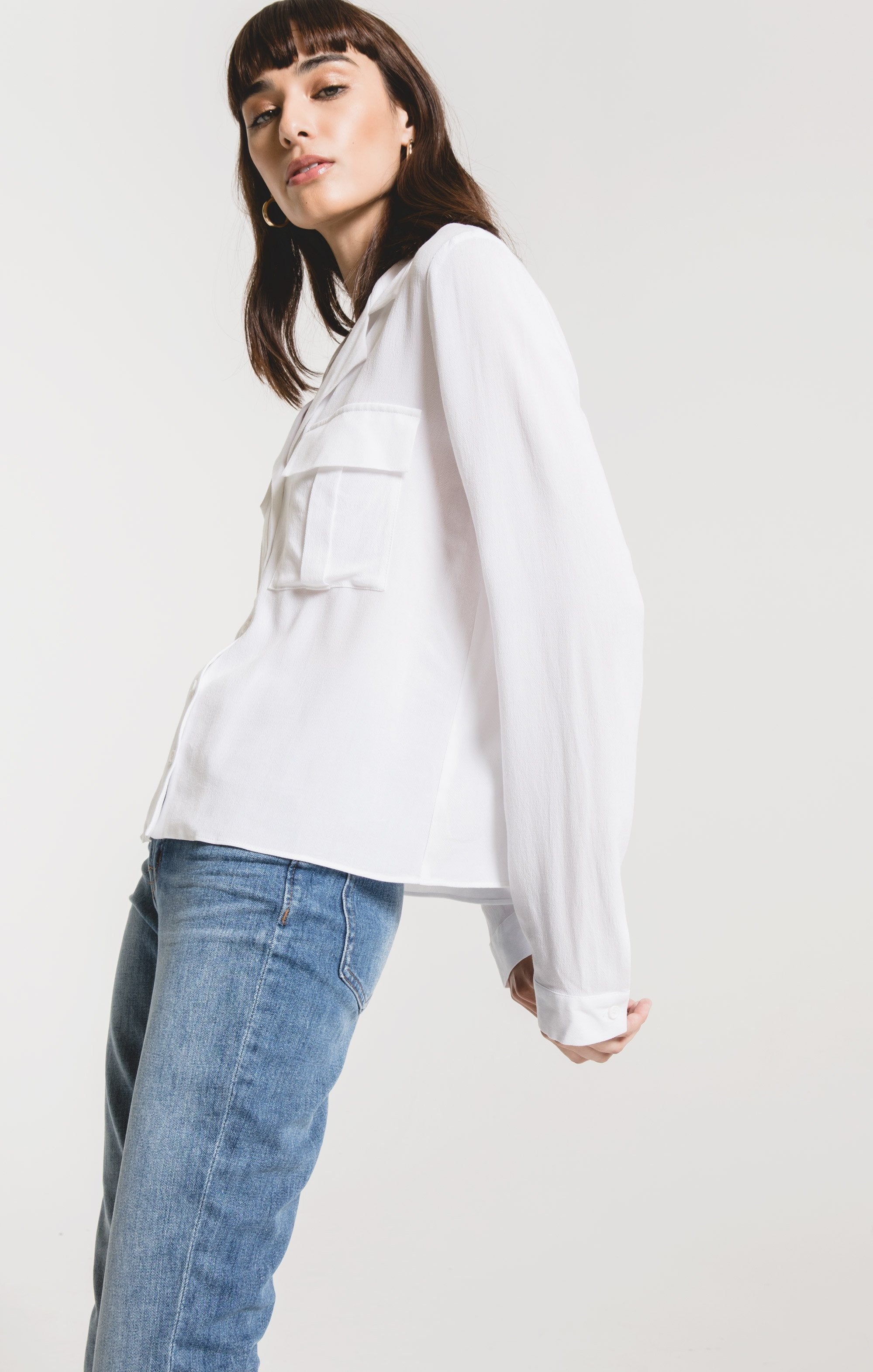 Mazarro Rayon Blouse in White