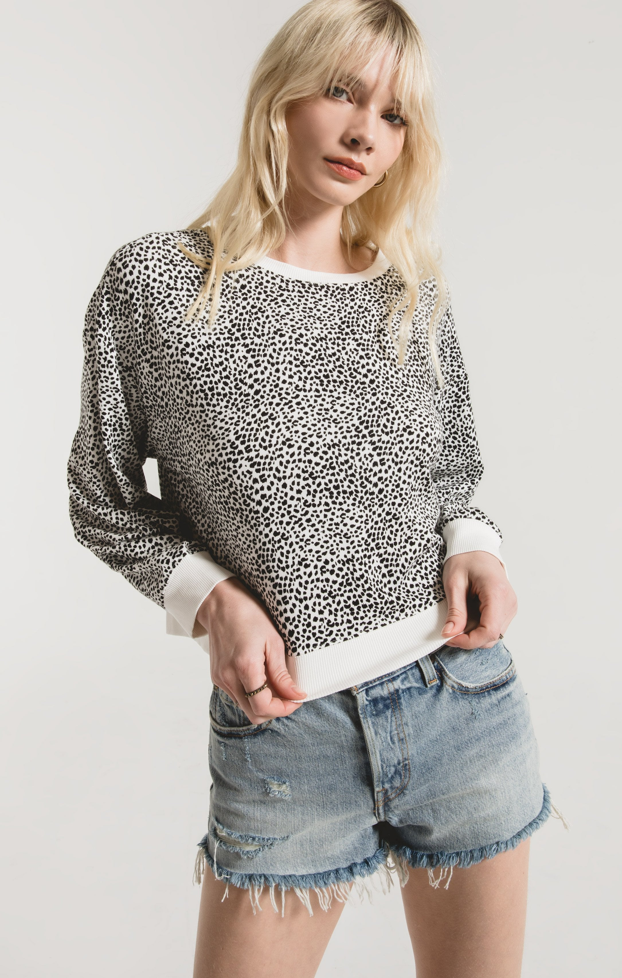 Mini Leopard Pullover in Off White