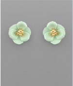Load image into Gallery viewer, Small Flower Stud with Gold Center in Black