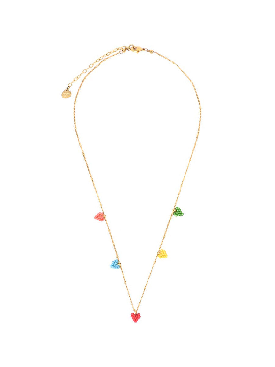 Multi Heart Necklace in Rainbow