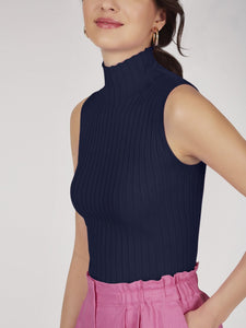 Rib Knit Mock Neck Sleeveless Top in Navy Blue
