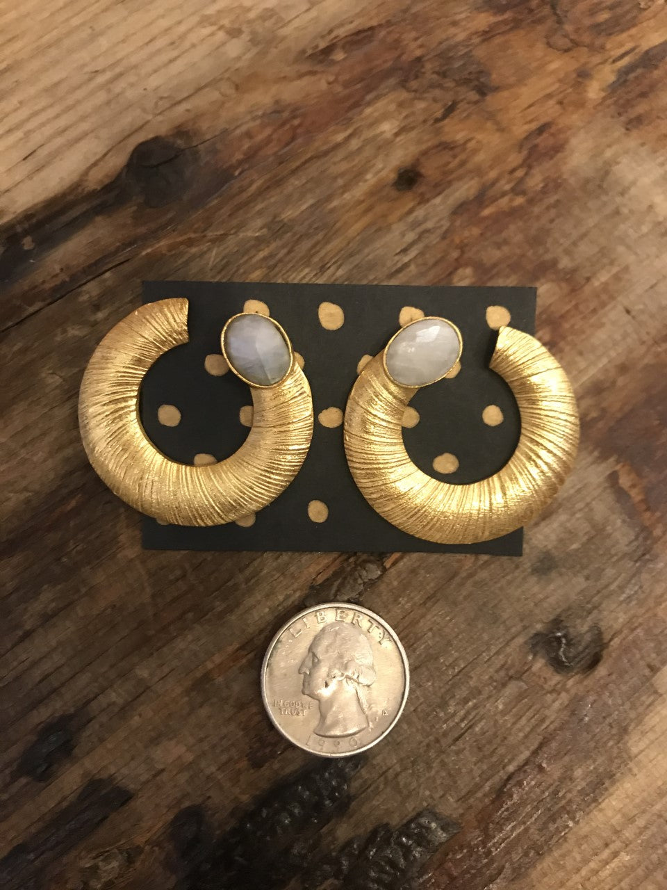 Gold Plated Coil Earrings with Moonstone