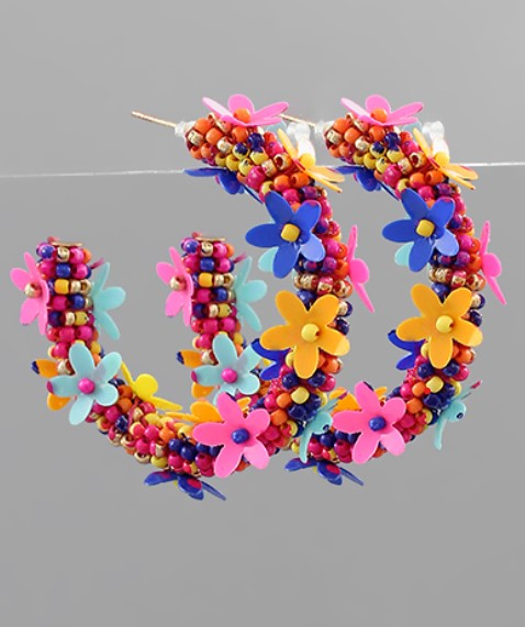 Beaded Flower Hoop Earring in Multi