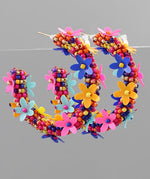 Load image into Gallery viewer, Beaded Flower Hoop Earring in Multi