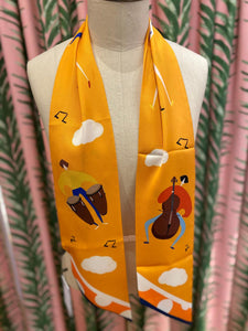Skinny Scarf in Music Yellow