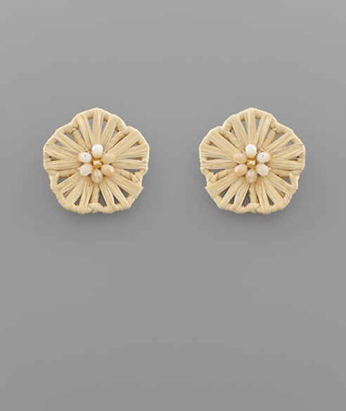 Rattan Flower Stud Earring in Natural