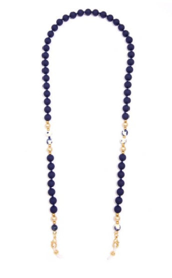 Matte Resin and Marbled Porcelain Beaded Mask Chain in Navy