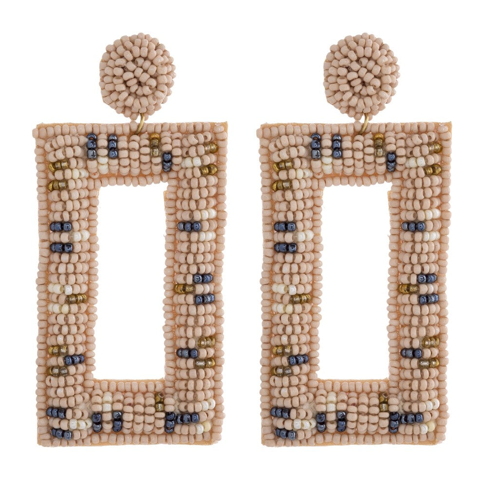 Beaded Geometric Earring in Nude Combo
