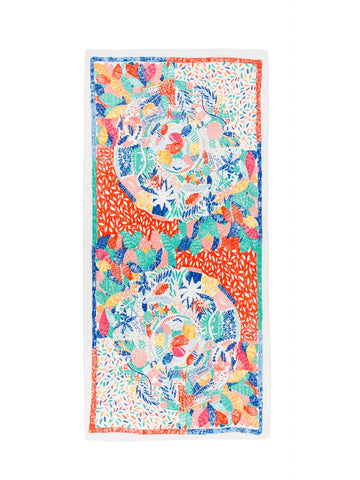Abstract Nature Print Scarf in Orange Combo