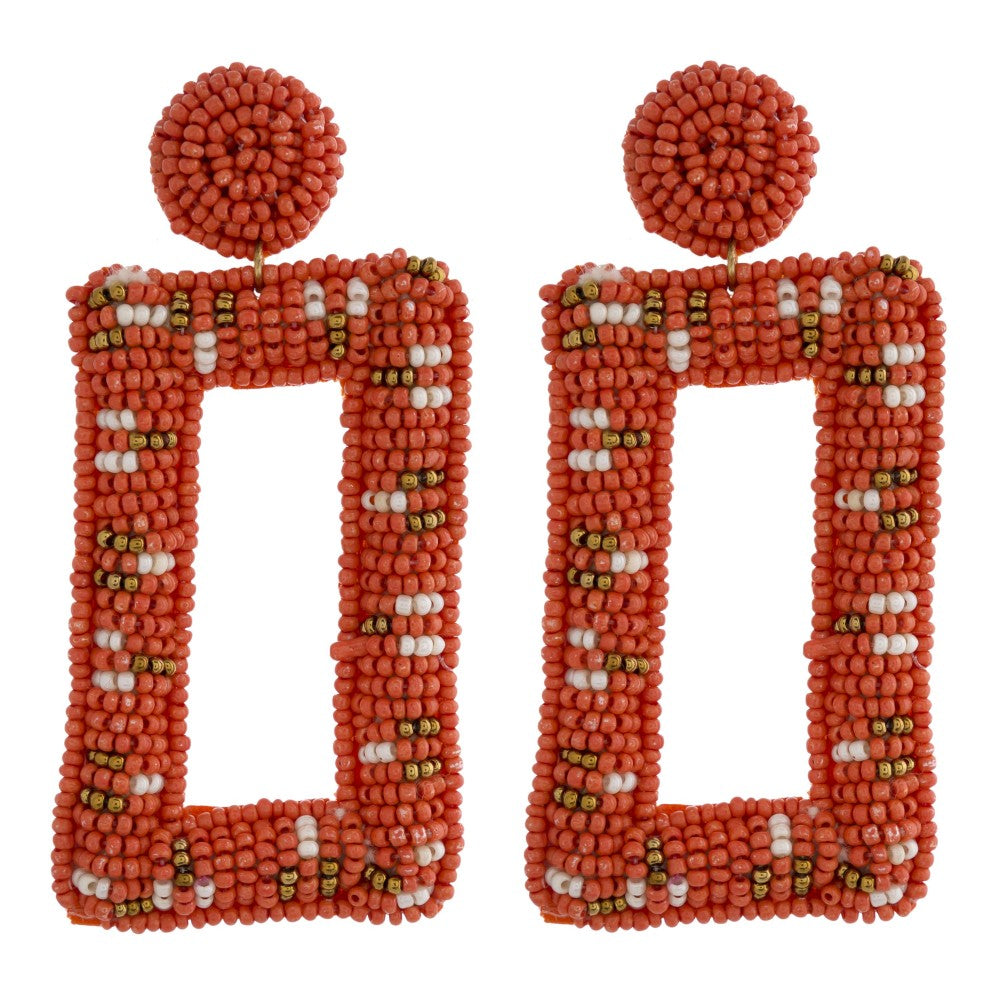 Beaded Geometric Earring in Orange Combo
