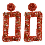 Load image into Gallery viewer, Beaded Geometric Earring in Orange Combo