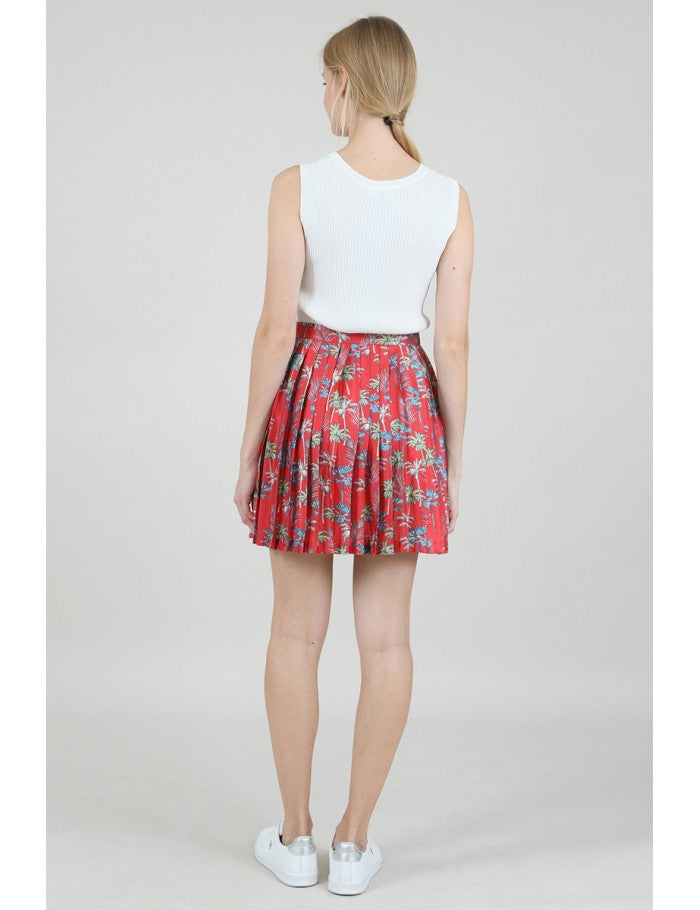Mini Pleated Skirt in Palm Tree Red