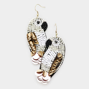 Beaded Parrot Earring in Natural
