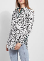 Load image into Gallery viewer, Microfiber Button Down Blouse in Paw Print