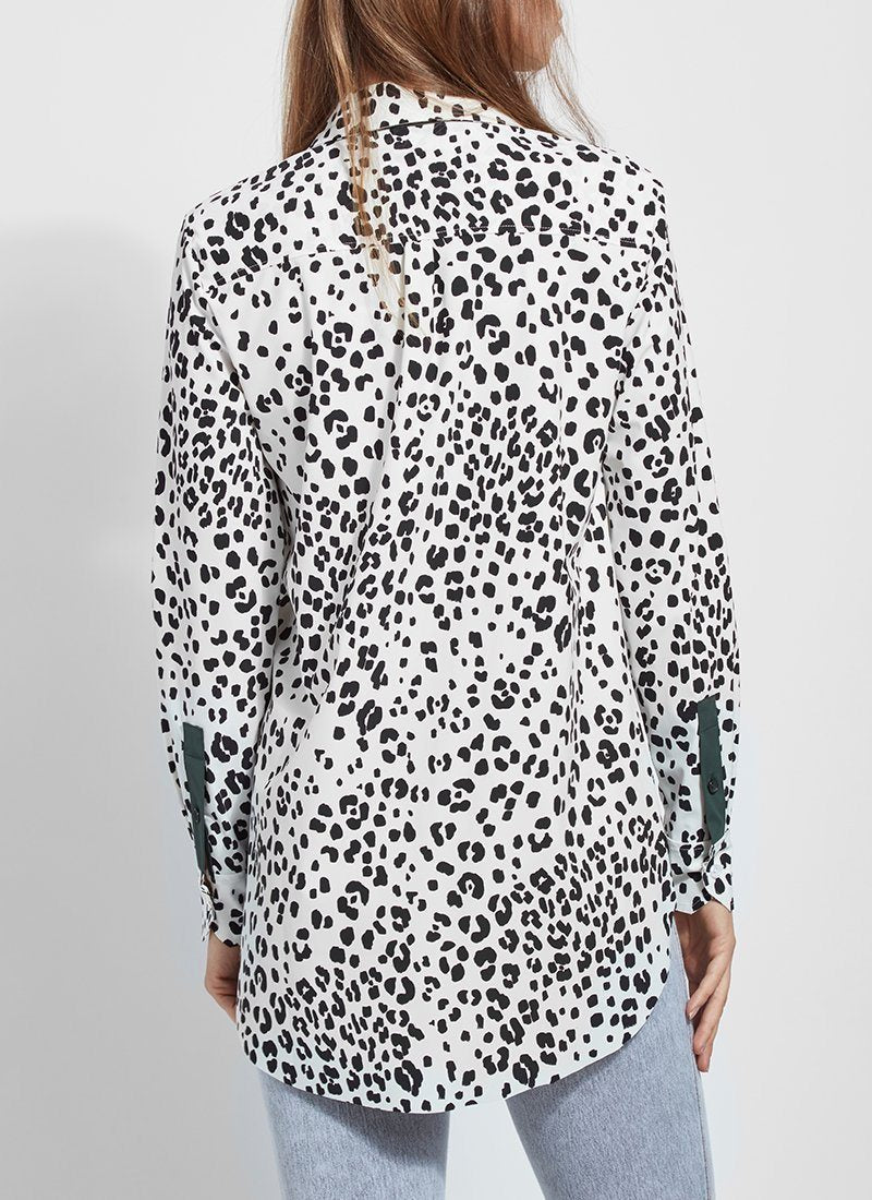 Microfiber Button Down Blouse in Paw Print