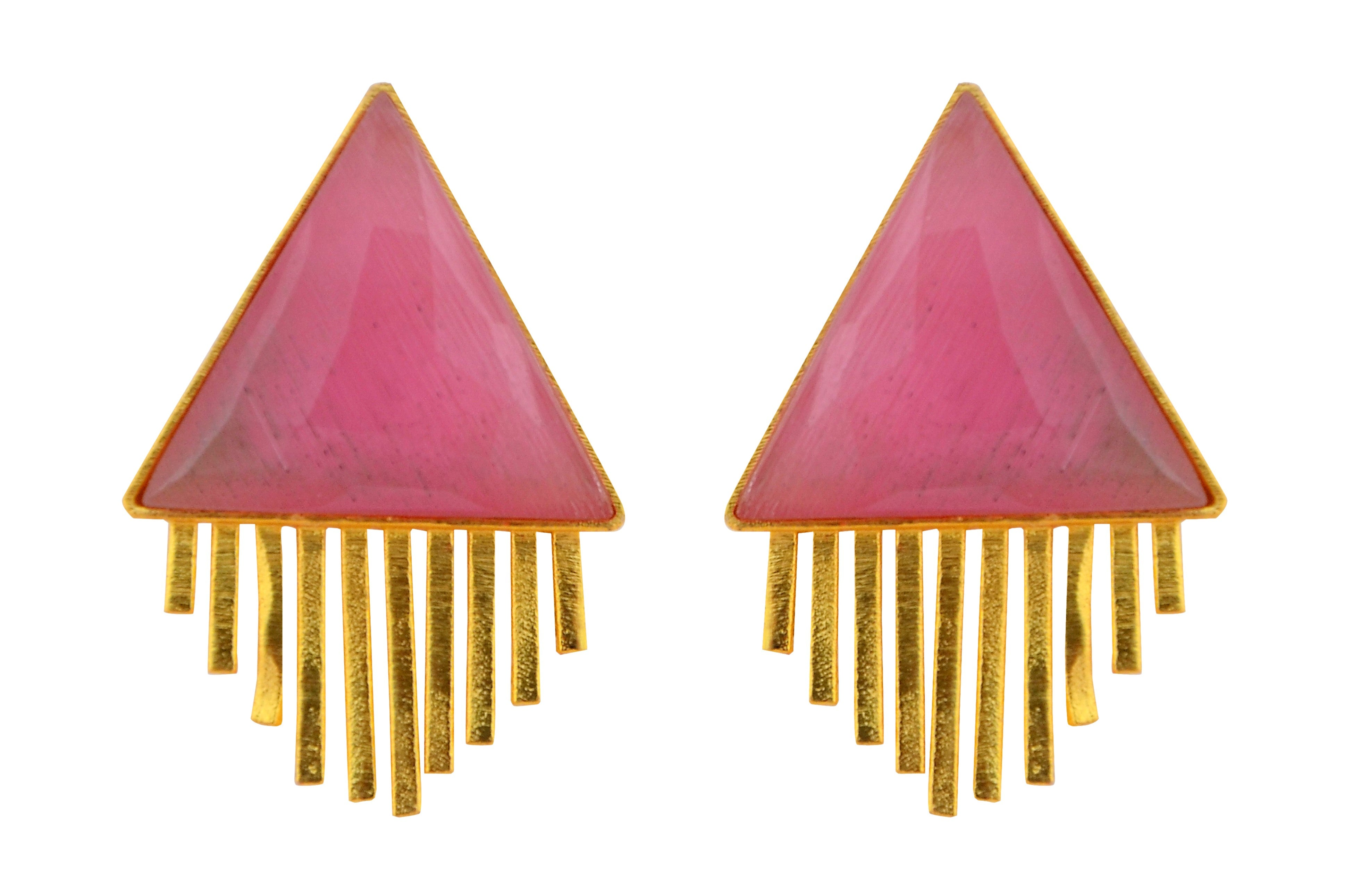 Triangle Sun Earrings in Pink Agate