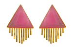 Load image into Gallery viewer, Triangle Sun Earrings in Pink Agate