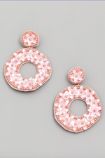 Load image into Gallery viewer, Circle Flower Beaded Drop Earrings in Pink