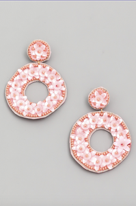 Circle Flower Beaded Drop Earrings in Pink