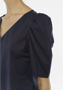 Pintuck Sleeve Blouse in Navy