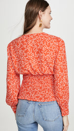 Load image into Gallery viewer, Portia Smocked Blouse in Red Hot Print