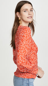 Portia Smocked Blouse in Red Hot Print