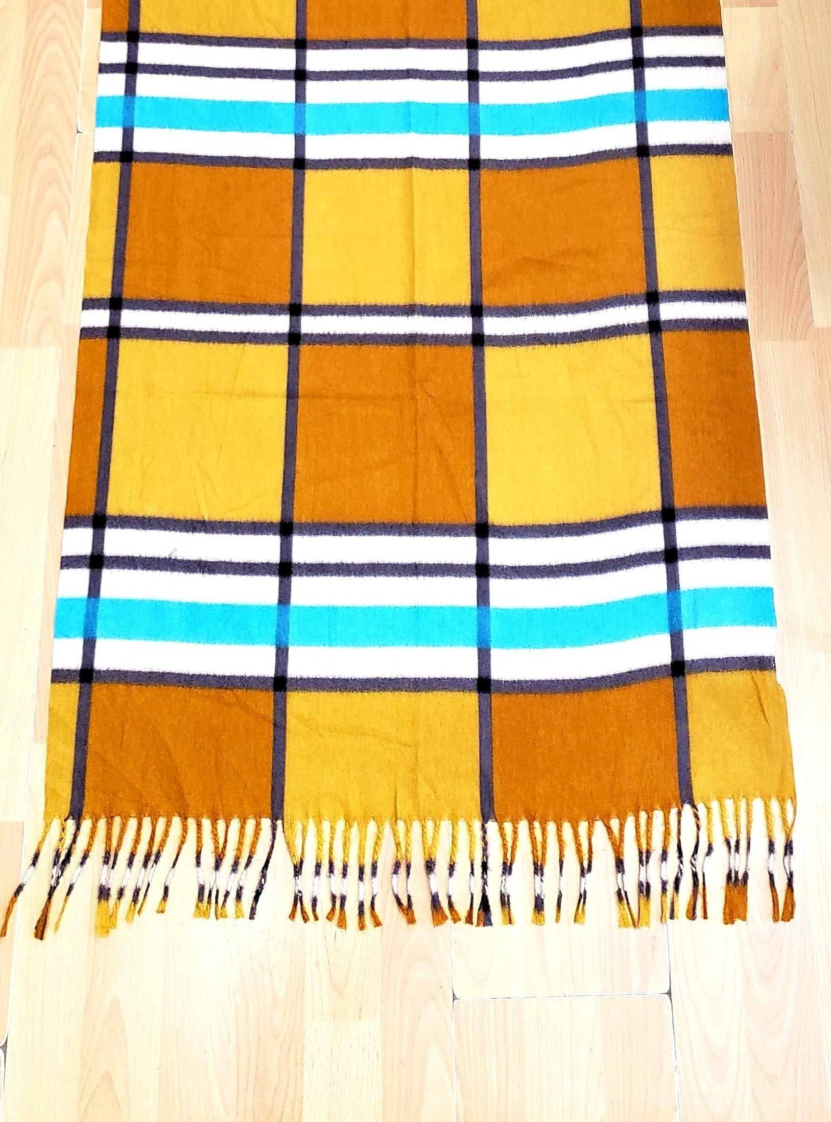 Plaid Scarf Scarf in Mustard