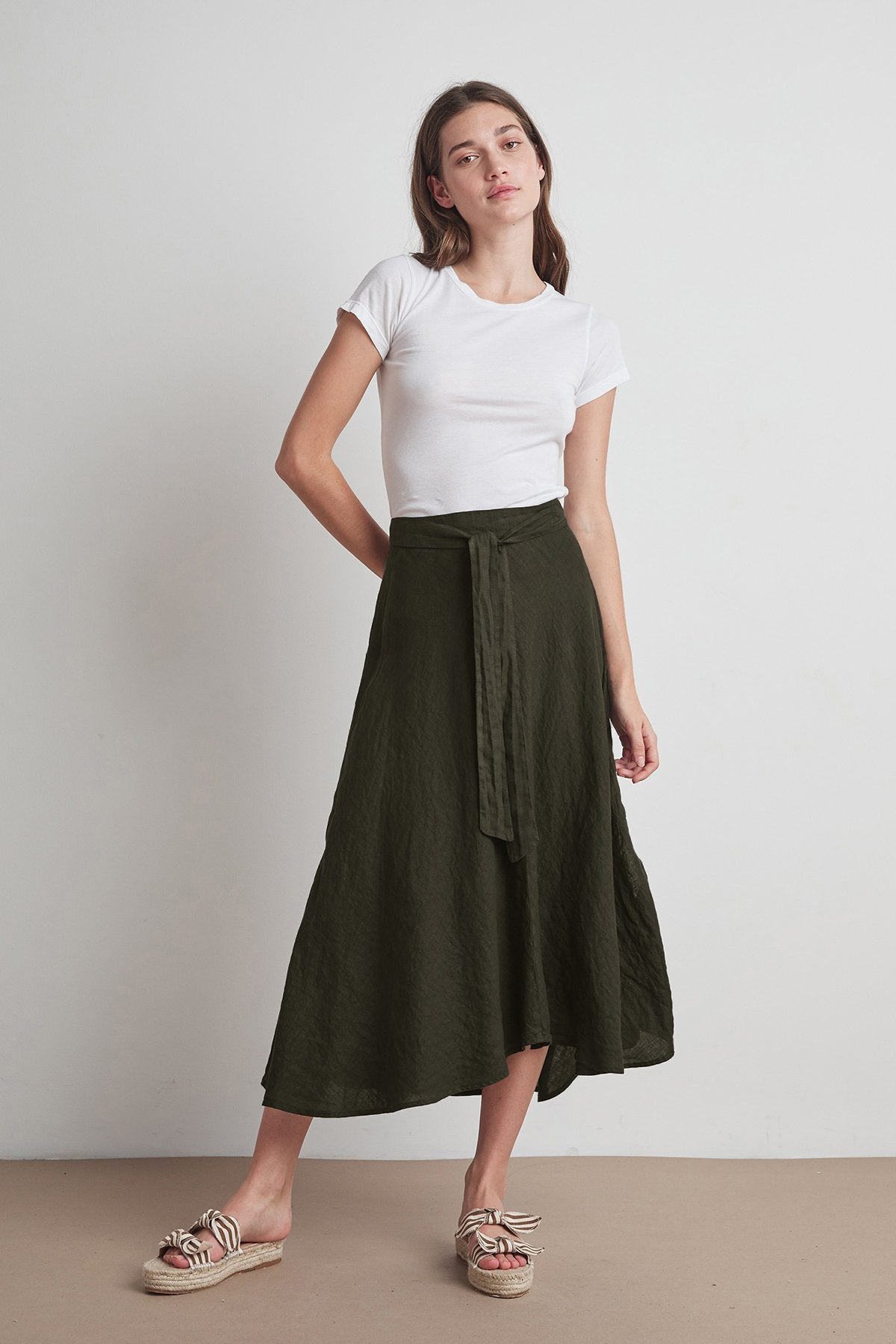 Raleigh Linen Maxi Skirt in Dillweed
