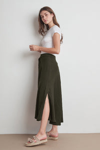 Linen Maxi Skirt in Dillweed