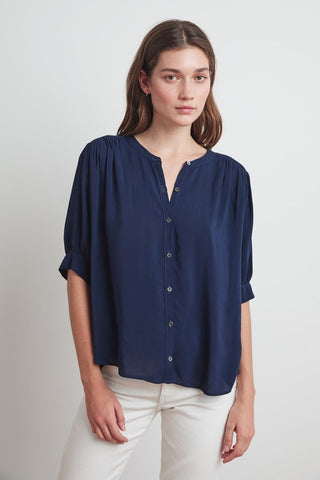 Adele Short Sleeve Blouse in Postman