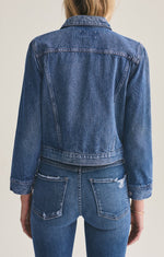 Load image into Gallery viewer, Shrunken Denim Jacket in Record Blue