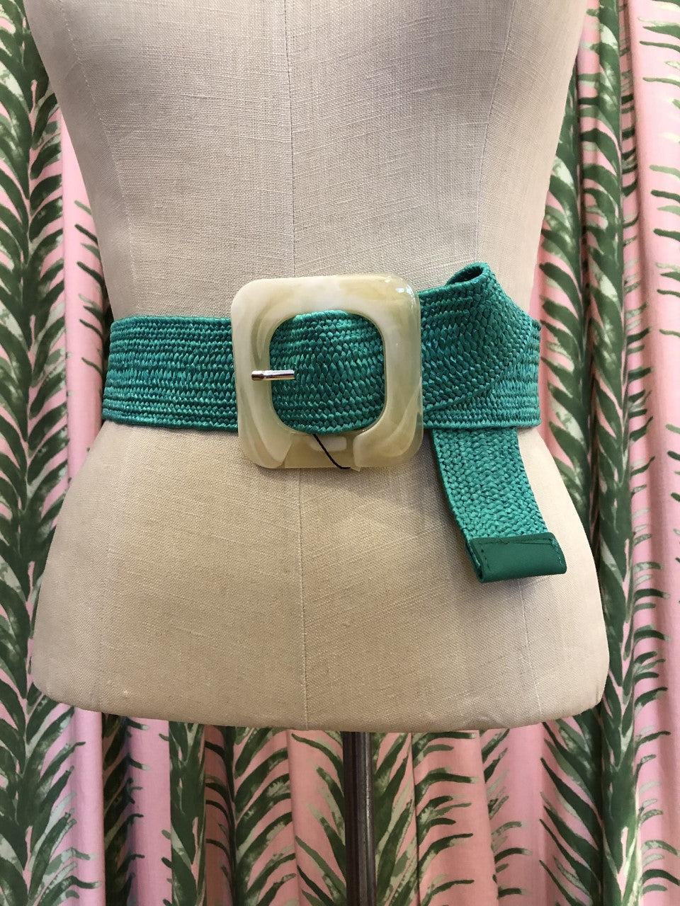 Raffia Belt with Natural Square Resin Buckle