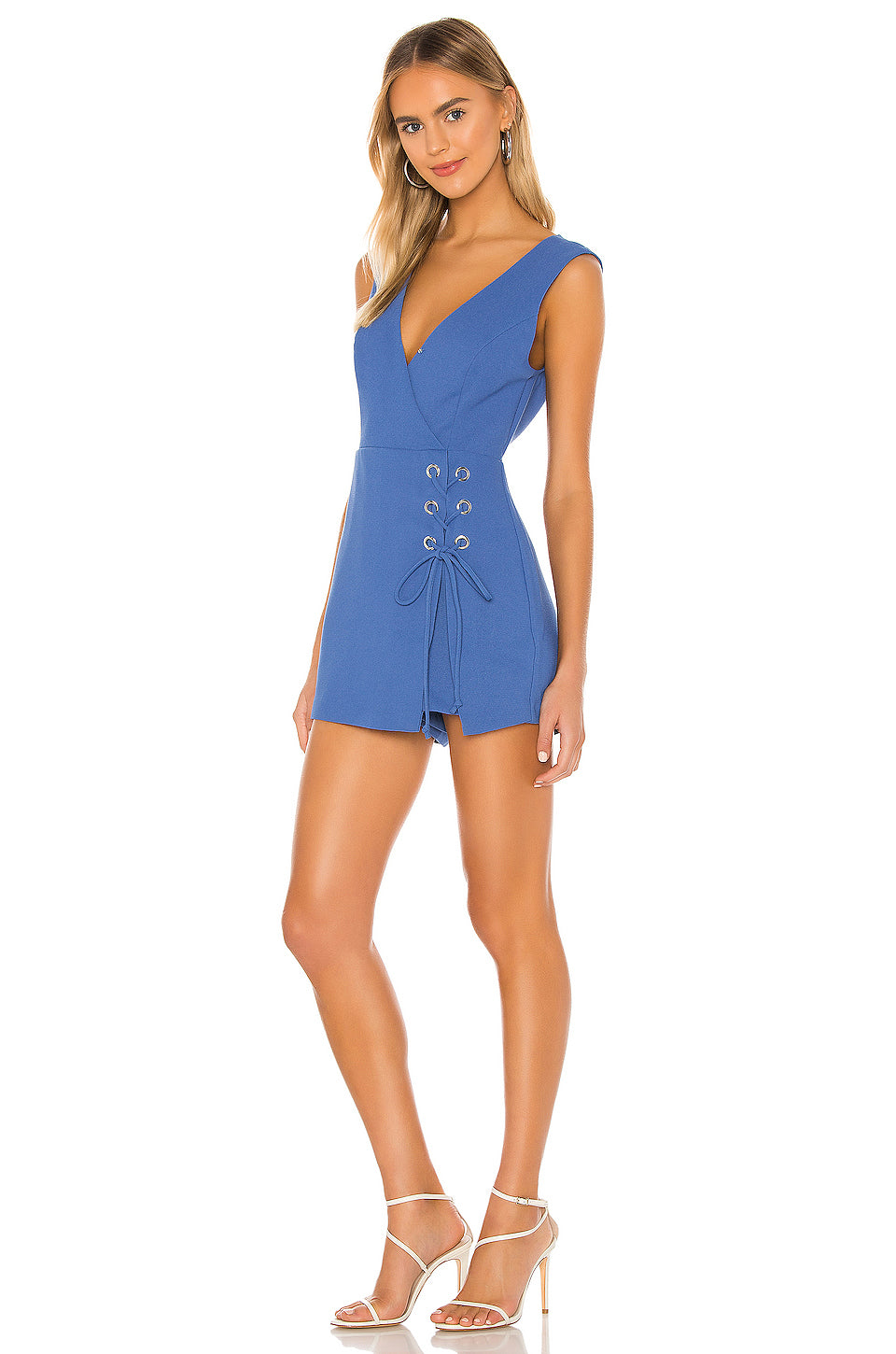 Lace Up Skort Romper in Blue